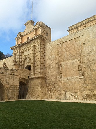 Fortifications of Mdina - The 18th-century Mdina Gate and the walled-up medieval entrance