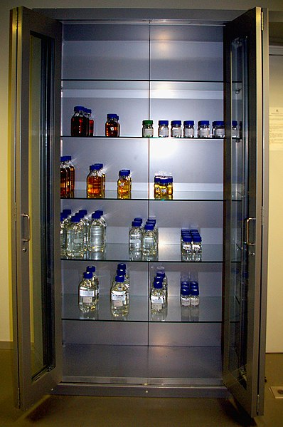 Chemical inventory in cabinet