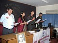 """Members of NCC, Infantry school Mhow, representatives of media and officers and staff of PIB Indore and other central govt. offices taking """"Rashtriya Ekta Diwas"""" pledge on the occasion of Sardar Vallabhbhai Patel birth.jpg"""