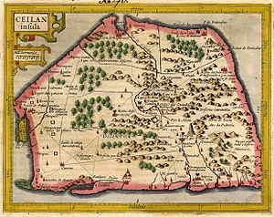 Ketheeswaram temple - Hondius after Gerardus Mercator map of 1555, showing Mannar and its temples as situated on the western coast of the Tamil country.