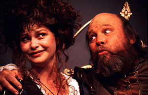 Falstaff - Mistress Page and Falstaff in The Merry Wives of Windsor, staged by Pacific Repertory Theatre at the Golden Bough Playhouse in Carmel, CA, in 1999