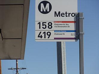 Metro Local - Image: Metro Local Line 158 Bus stop sign in Granada Hills
