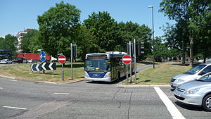 Fastway (bus rapid transit) - Bus priority includes this bus lane over the middle of Tushmore Roundabout in Crawley, allowing buses to by-pass other traffic.