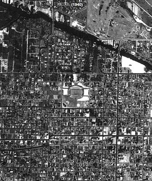 Miami Orange Bowl - Historical Aerial view of Burdine Stadium (Miami Orange Bowl) in 1940