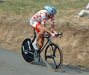 Michael Rasmussen wearing the polka dot jersey in 2005.