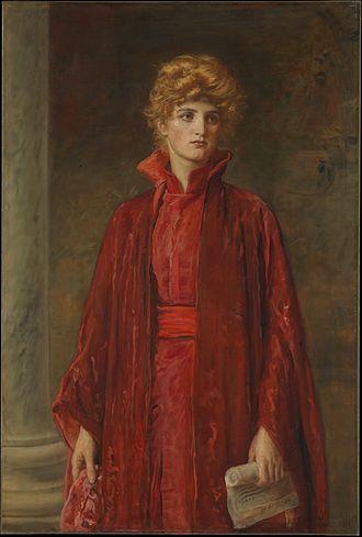 Portia (The Merchant of Venice) - Kate Dolan as Portia, painted by John Everett Millais (1829–1896)