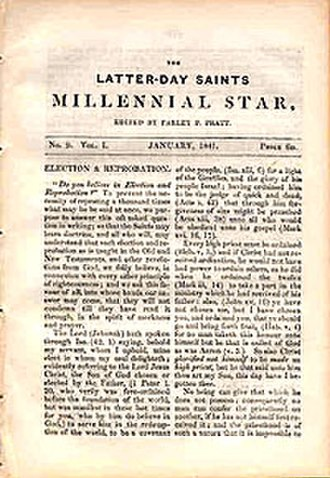 Millennial Star - First page of the January 1841 edition.