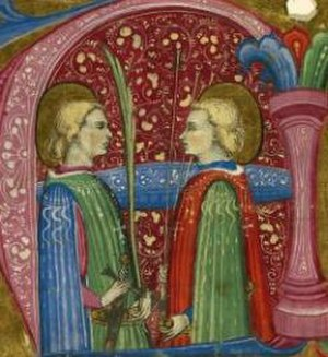 Chiaffredo - Miniature. Saints Maurice and Theofredus (Chiaffredo).  Attributed to Frate Nebridio da Cremona, c. 1460–1480.
