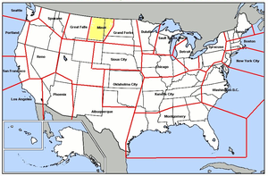 Minot Air Defense Sector - Map of Minot ADS