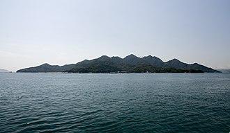 Itsukushima - Overview of Miyajima / Itsukushima island in the Inland sea from east direction, Japan