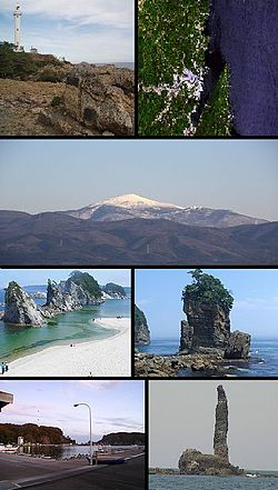 Top left: Cape of Dodo and lighthouse, Top right: Miyako Bay from satellite, 2nd row: Mount Hayachine, lower left: Jyodo Beach, lower right: Rock of Sano, Bottom left: Tago Port, Bottom right: Rock of Rosoku (Candle)