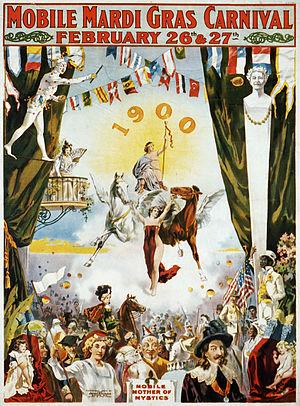 Mardi Gras in Mobile, Alabama - Mobile Carnival poster from 1900.