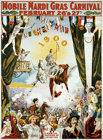 Mardi Gras in Mobile, Alabama - Mobile Carnival poster from 1900.