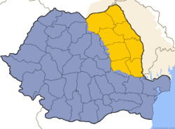 Map of Romania with region Moldavia in yellow