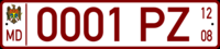Moldova temporary trailer license plate.png