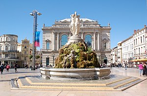 Fountain in front of the Opera, Montpellier, L...