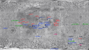 Grid showing location of artificial objects on the moon (axis shows latitude and longitude)