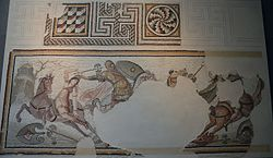 Mosaic with Amazonomachy scene, from Daphne, a suburb of Antioch-on-the-Orontes, second half of the 4th century AD, Louvre Museum (22960887013).jpg