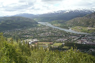 Mosjøen - View of southern parts of Mosjøen