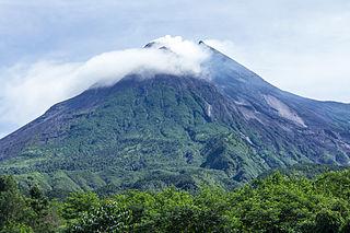 Mount Merapi active volcano in Java, Indonesia