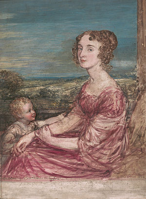 Barbara Wilberforce - Mrs William Wilberforce and Child (Barbara Ann Wilberforce) by John Linnell, 1824.