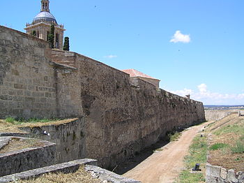 The City Walls, built by Ferdinand II of Leon in the 12th century. Muralla interior de Ciudad Rodrigo (desde la puerta de Amayuelas al oeste).jpg