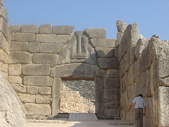 Dry stone - The Lion Gate of the Mycenae acropolis, Greece, is dry stone.