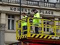 Náměstí Republiky před průvodem tramvají, kamera na trolejové věži.jpg