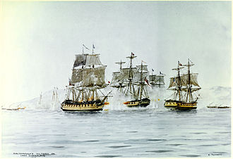 Battle of Plattsburgh - Saratoga (left) and Eagle (right) engaging Confiance