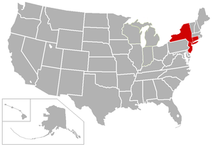 New Jersey Athletic Conference - Image: NJAC USA states