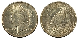 Peace dollar - Image: NNC US 1921 1$ Peace dollar