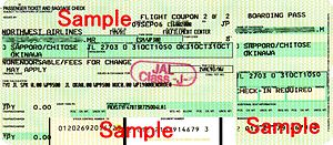 Airline ticket - A sample Northwest Airlines ticket
