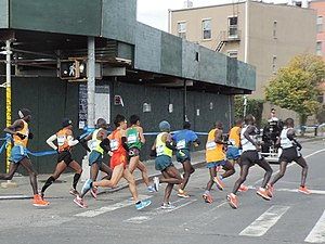 McGuinness Boulevard - NYC Marathon leaders rounding the corner onto McGuinness Boulevard