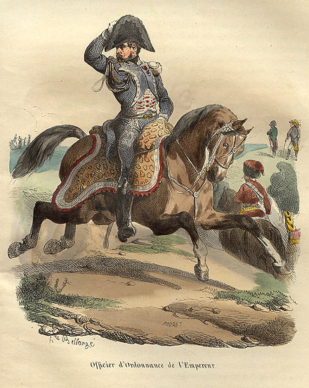French orderly, Napoleonic Wars. Napoleon Orderly officer by Bellange.jpg