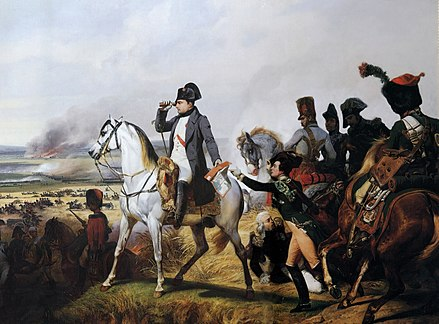 Napoleon at the Battle of Wagram, painted by Horace Vernet Napoleon Wagram.jpg