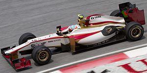 Narain Karthikeyan - Karthikeyan driving for HRT at the 2012 Malaysian Grand Prix.