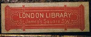 London Library - 19th-century London Library book label