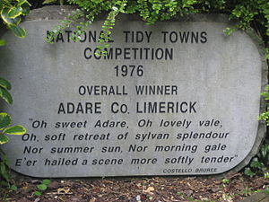 Tidy Towns (Ireland) - Sign commemorating Adare's 1976 victory.