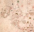 Nautical chart of the Mediterranean area, including Europe with British Isles and part of Scandinavia. HM 1548. anonymous, PORTOLAN CHART (Italy, 15th century).Q.jpg