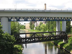 Teltow Canal - Rail and motorway bridges over the canal