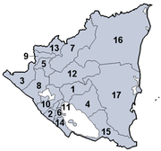 Departamentos (cabeceras):  1 Boaco (Boaco)   2 Carazo (Jinotepe)   3 Chinandega (Chinandega)   4 Chontales (Juigalpa)   5 Estelí (Estelí)   6 Granada (Granada)   7 Jinotega (Jinotega)   8 León (León)   9 Madriz (Somoto)   10 Managua (Managua)   11 Masaya (Masaya)   12 Matagalpa (Matagalpa)   13 Nueva Segovia (Ocotal)   14 Rivas (Rivas)   15 Río San Juan (San Carlos)   Regiones Autónomas    16 Atlántico Norte (Bilwi)   17 Atlántico Sur (Bluefields)