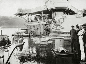 Japanese cruiser Nisshin - The forward turret and superstructure after the Battle of Tsushima