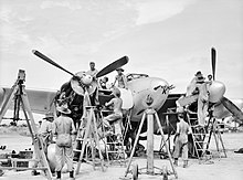 Black and white photo of a group of men conducting maintenance on a twin-engined propeller aircraft while it's on the ground. Ladders and scaffolding have been set up around the aircraft.