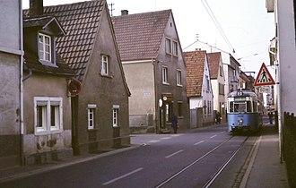 Eppelheim - Image: No. 2 tram, Hauptstrasse, Eppelheim 1979