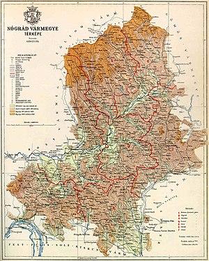 Nógrád County (former) - Map of Nógrád county