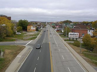North Bay, Ontario - Looking northwest down Main Street, from a pedestrian/cyclist overpass near Chippewa Creek
