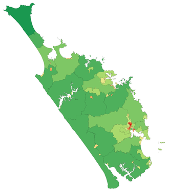 Northland Region -  A map showing population density in the Northland Region at the 2006 census