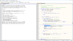 Notepad++ v7 on Windows 10, with MediaWiki 1.27.1 source code, with split window view and autocompletion (English)