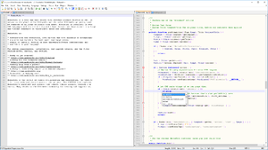 Notepad++ v7 on Windows 10, with MediaWiki 1.27.1 source code, with split window view and autocompletion.png