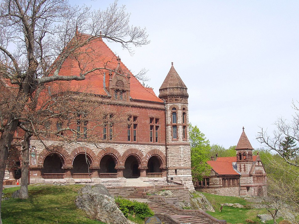 Oakes Ames Memorial Hall with Ames Free Library in background.